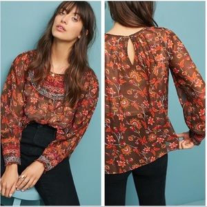 Anthropologie Flower & Butterfly Embroidered Top